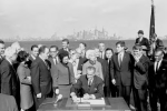 President Lyndon B. Johnson signing the Immigration and Nationality Act of 1965, which substantially changed U.S. immigration policy toward non-Europeans. Johnson made a point of signing the legislation near the base of the Statue of Liberty, which had long stood as a symbol of welcome to immigrants. Lower Manhattan can be seen in the background. (Lyndon B. Johnson Library Collection/Yoichi R. Okamoto)