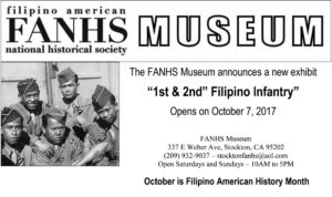 """Graphic design flyer for the FANHS National Museum exhibit """"1st and 2nd Filipino Infantry""""."""