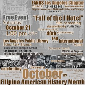 """A graphic design flyer for the """"Fall of the I Hotel"""" film screening of FANHS LA."""