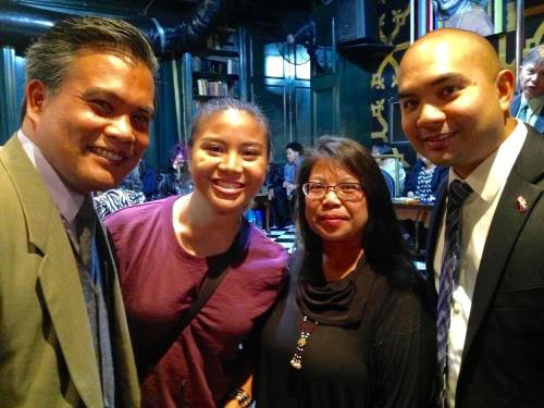 "Joe Greets GW Alumni Bettina Tamesis (Class of 2016) and his old friends Jojo Maralit and RJ Dionko. All spent years active in GW's Philippine Cultural Society. Bettina says: ""My friends spoke with Joe at PCS's 30th Annual Gala and gained a lot of wisdom."" Photo: @ForCommunities for FANHS, 2015."